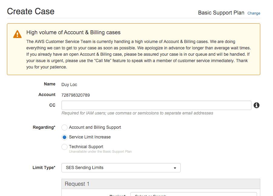 Create Case giai trinh voi Amazon