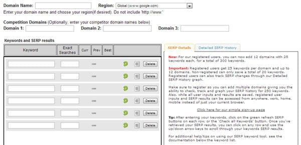 Giao diện Whatsmyserp.com nhập thông tin kiểm tra