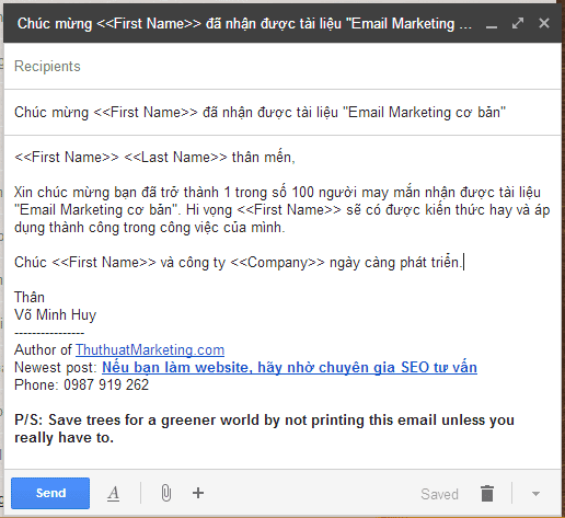 email mau de ca nhan hoa email marketing